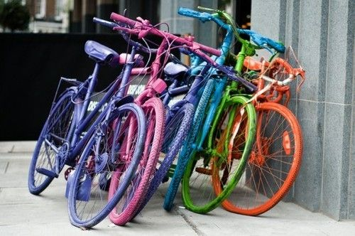 Love the rainbow of bicycles!
