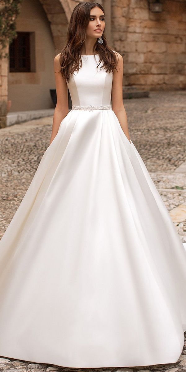 New Decent Tulle Satin Jewel Neckline A Line Wedding Dress With Beaded Embroi In 2020 Embroidery Dress Wedding A Line Wedding Dress Classic Wedding Dress