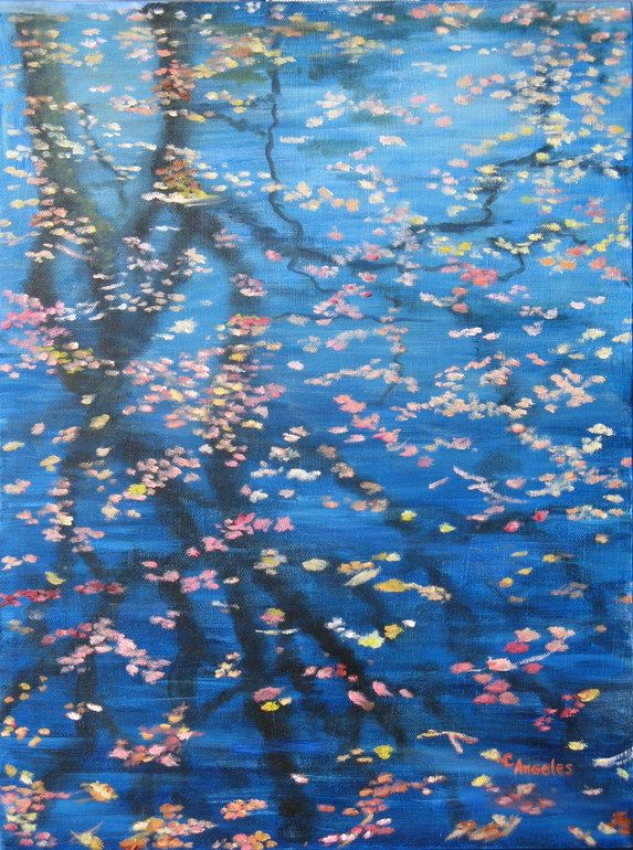 "Saatchi Online Artist: Cynthia Angeles; Oil, 2009, Painting ""Floating Leaves"""