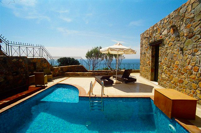 2 Bedrooms, 2 Bathrooms, Near to Famous Beach, Panoramic Sea View, 2 Private Pools Artemis Villa to Rent in Elafonisi, Chania Crete. Villa Artemis is situated on the peak of a hillside overlooking the Mediterranean Sea. It looks like acastle