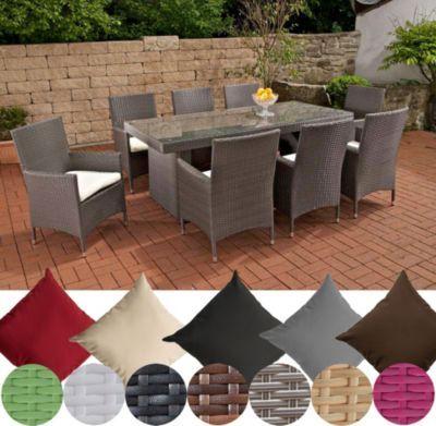 Poly Rattan Gartenmöbel Essgruppe AVIGNON BIG, 4 Farben (8 X Polyrattan  Stuhl Julia