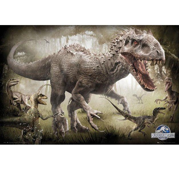 Jurassic World Poster Attack Raptoren und Indominus Rex. Hier bei www.closeup.de
