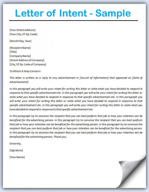 Letter Of Intent Example Letter Of Intent Letter Writing Examples Job Letter