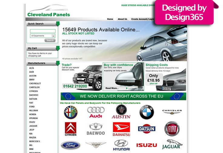 One of our #ecommerce #website #designs for a company called Cleveland Panels. This online #shop sells a range of #car panels, car #body #kits and car #part #spares for brands such as #Ford, #BMW, #Vauxhall and #Volkswagen.