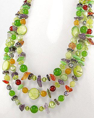 51756163 Collar de Piedras, Perlas, Seda c/Plata 925, (En oferta)