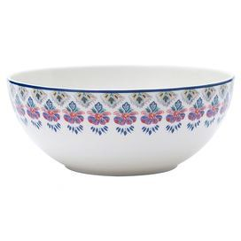 "Porcelain vegetable bowl with a Southwestern-inspired floral border.  Product: Vegetable bowlConstruction Material: PorcelainColor: White and multiFeatures: In-glaze decalDimensions: 9"" DiameterCleaning and Care: Microwave and dishwasher safe"