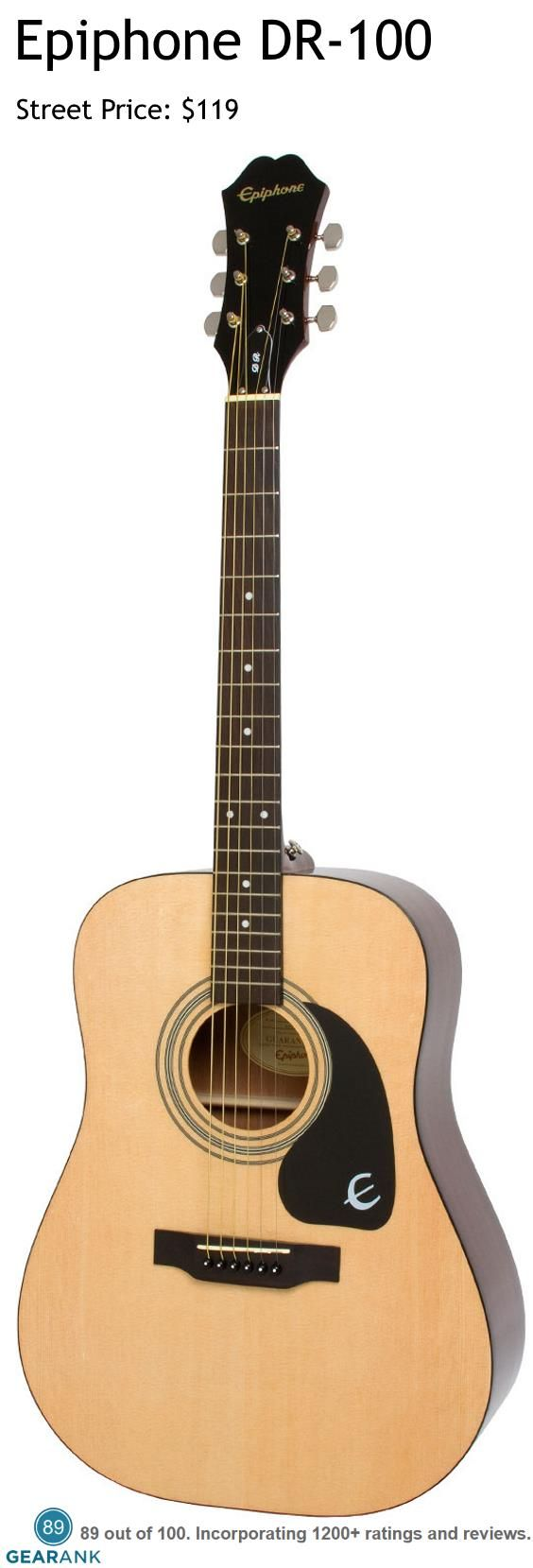 Epiphone DR-100. This is Epiphone's top selling acoustic guitar and is also one of the highest rated acoustic guitars under $200.