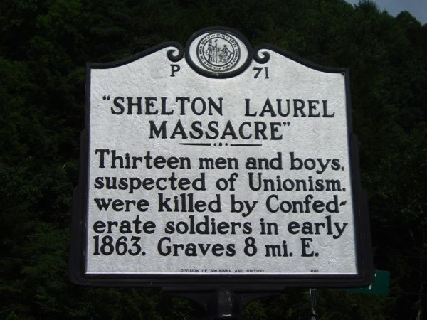 Confederate Lt. Col. James Keith & his regiment engaged w/ pro-Unionist civilian irregulars in Shelton Laurel near Marshall, NC. 12 were shot, & 7 captured. He then located these men's family homes & tortured their mothers, sisters, wives, & daughters by breaking their fingers until they revealed the locations of more Union sympathizers. 13 arrested males all were executed by firing squad & thrown in a ditch. Keith was given 2 years in prison for this before escaping, & was never seen again.