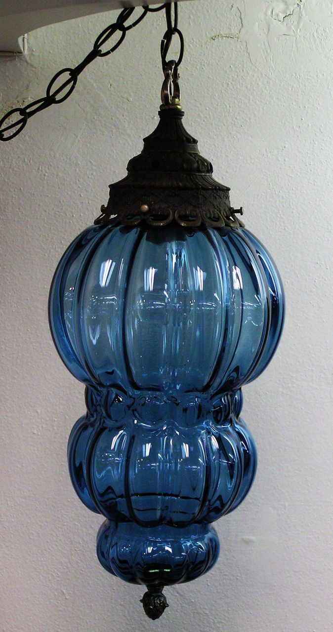 Blue Glass Hanging Swag Lamp