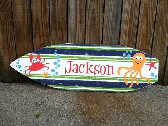 SURFBOARD Wood Sign Ocean Theme  Hand by ExpressionsWallArt, $165.00