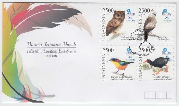 Indonesia - FDC Indonesia's Threatened Bird Species 2012