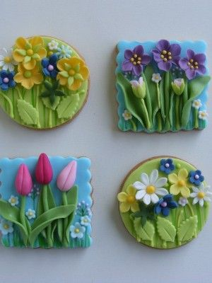 Galletas con flores en relieve