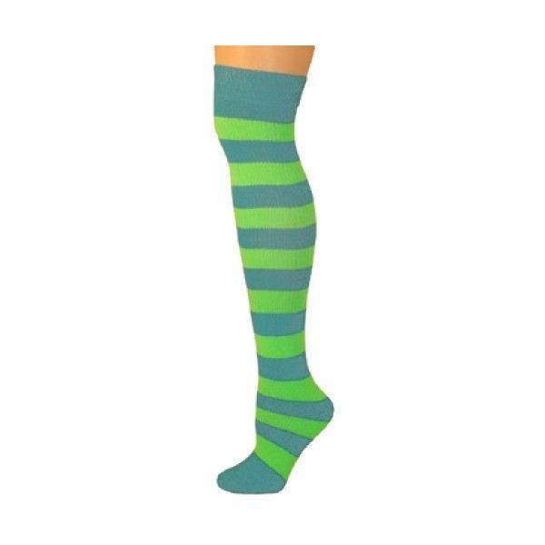 Adults Striped Knee Socks Turquoise/Neon Lime Green ($8.50) ❤ liked on Polyvore featuring intimates, hosiery, socks, knee high socks, cushioned socks, neon knee socks, knee high sports socks and lime green socks