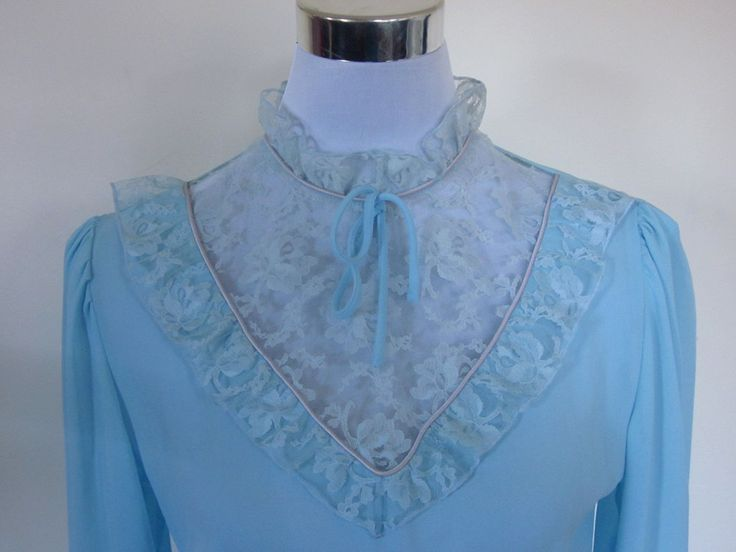 VINTAGE authentic vintage 60s/70s retro sky blue lace high collar lolita secretary dress (equiv size us 4 uk au nz 8 eu 36) by shopblackheart on Etsy