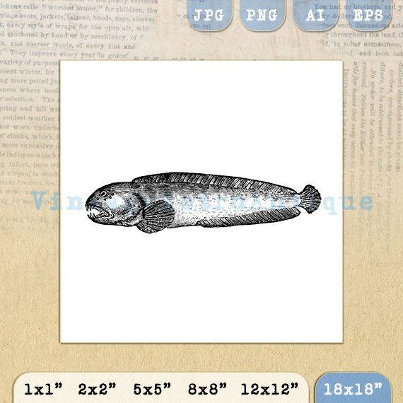 Printable Scary Fish Digital Download Ocen by VintageRetroAntique