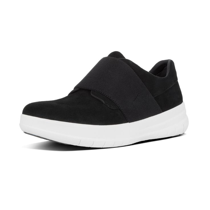 SPORTY-POP SUEDE SLIP-ON SNEAKERS Black FitFlop Official Online Store