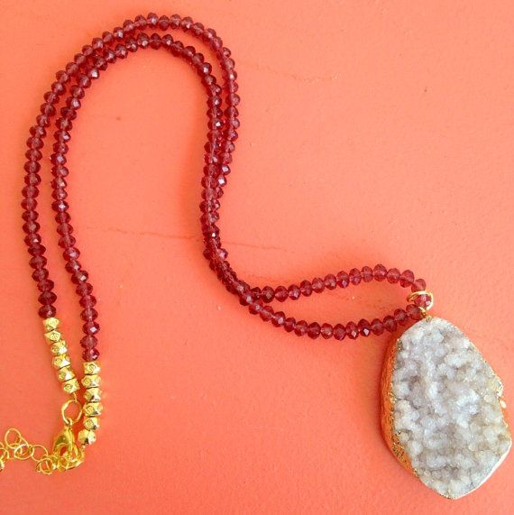 Boho Necklace w Purple Crystals and Lt Pink Druzy by IZZIEandOLIN
