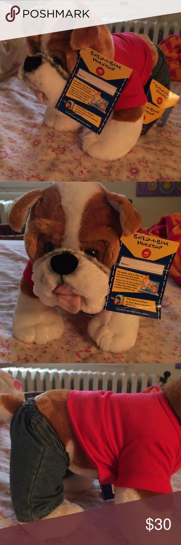 Brand new build a bear Bull Dog Brand new, tags still attached build a bear bulldog. This listing comes with the clothes. You may purchase without clothes at discounted rate or just buy the clothes separately. Comment if you want me to make a new listing for that. Clothes still have tags as well. Open to offers, I bundle💗💗 Great gift 🎁 THE PRICE IS NEGOTIABLE Build A Bear Other