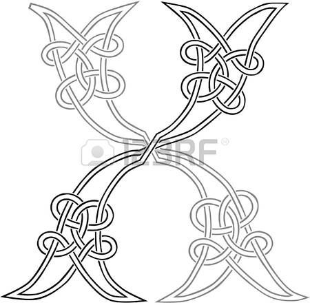 A Celtic Knot-work Capital Letter X Stylized Outline Illustration