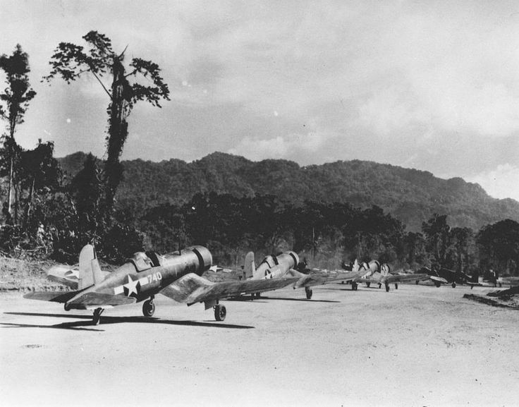F4U-1 Corsairs of Marine Squadron VMF-214 taxiing for take-off at Torokina Airstrip, Bougainville, Solomons, 1943 - BFD