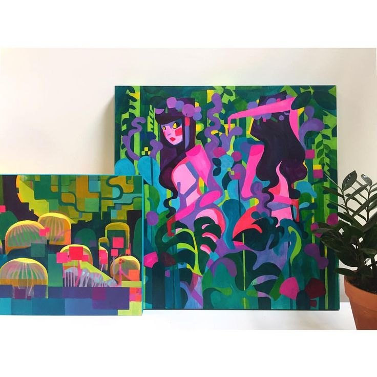 I think these two look nice together. . . . #paintings #color #la #lagallery #losangeles #ladies #plantlife