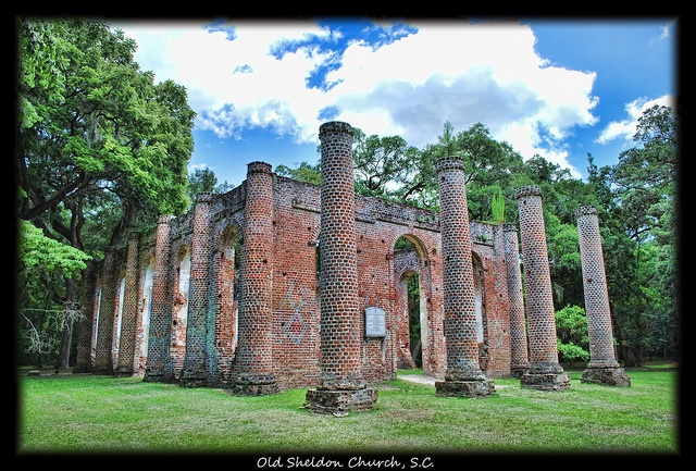 Lowcountry Ruins    The Old Sheldon Church, formerly known as the Prince William Parish Church, has had a tumultuous and eventful history. From its first service in 1757 to its present peaceful setting, the church has followed the travails of our region's history.