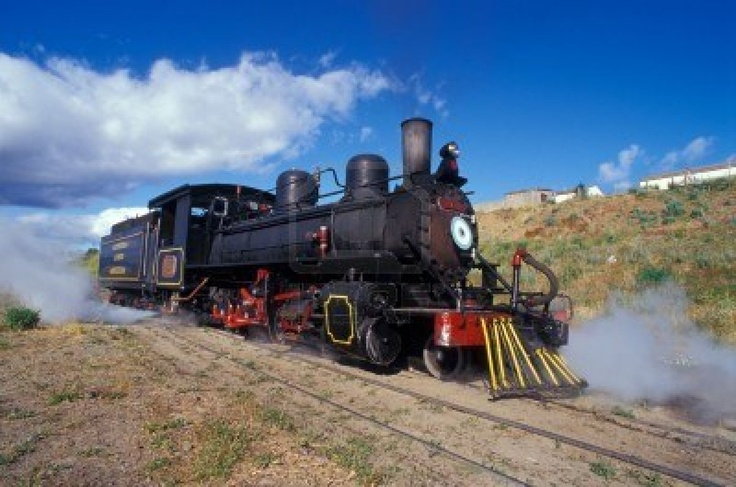 Touristic steam engine train leaving the station in Patagonia, Argentina. Stock Photo