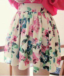 $9.11 Vestido Atractivo de Poliéster y Gasa de Mini Plisado y Flor de impresión Faldas para las Mujeres
