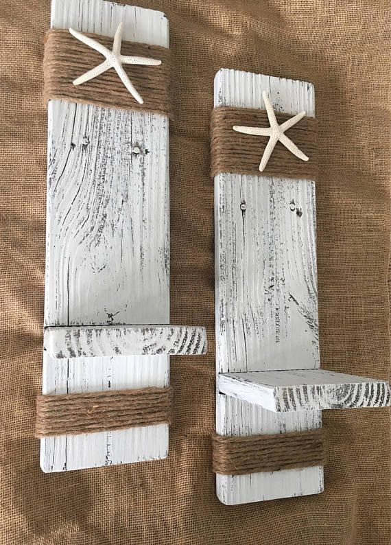 Set of 2 Beach Wall Sconces. Great for any room in the home to put candles, plants, mason jars, etc. Made from 100% reclaimed driftwood. My husband and I spend lots of time on the corners to give them a softer look instead of just square. Also, the ledge is tongue and grove, then screwed