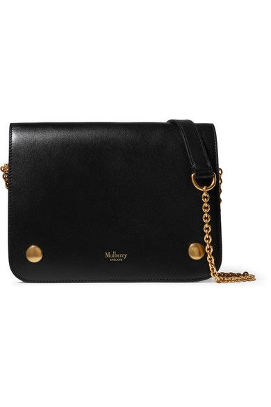 Black leather (Cow, Lamb) Snap-fastening front flap Comes with dust bag Weighs approximately 1.5lbs/ 0.7kg Made in the UK
