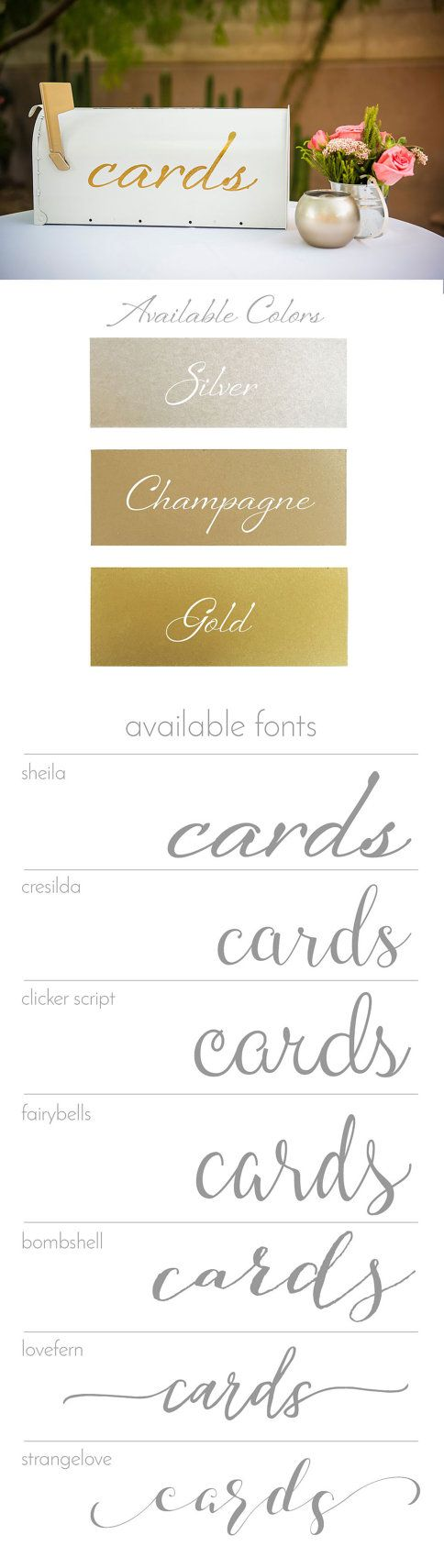 Collect wedding cards in your own custom-painted mailbox! Choose a script font and text color to perfectly match your decor!