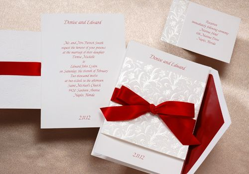 Red Wedding Ideas - Red Ribbon Invitation (Invitation Link - https://www.yourinvitationplace.com/Detail.aspx?ItemNum=T3704CL&WebName=occasionsinprint)
