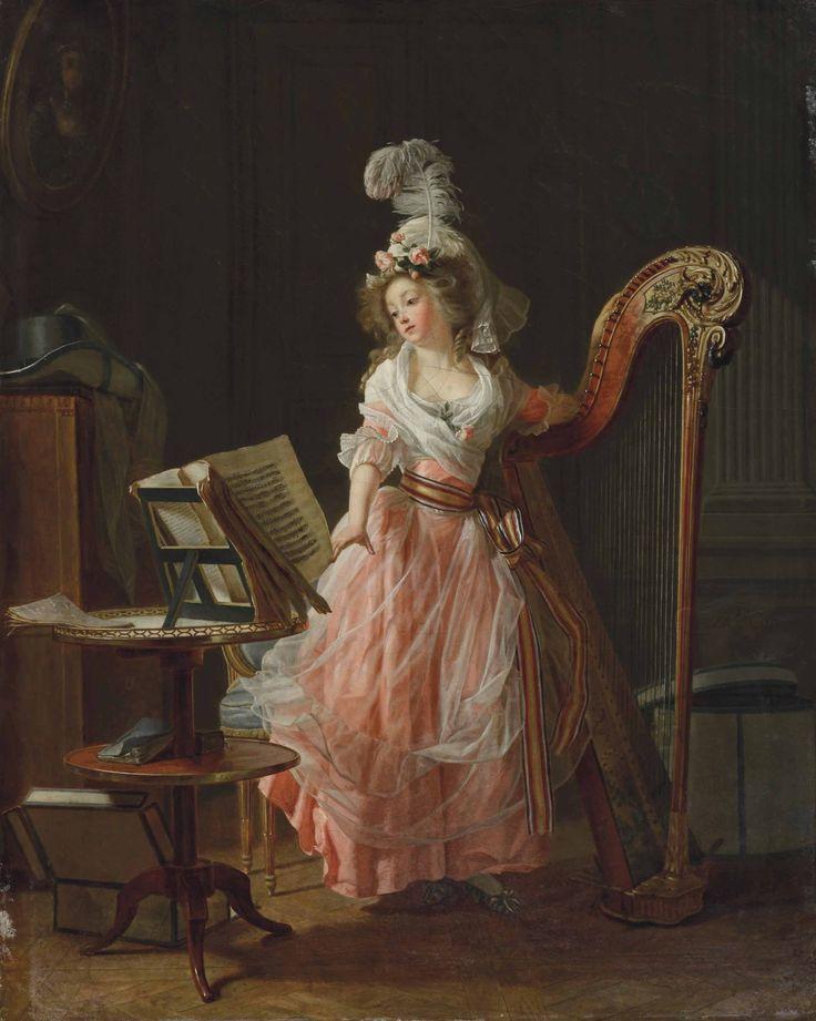 MICHEL GARNIER (SAINT-CLOUD 1753-1829 VERSAILLES)  La jeune musicienne  signé et daté 'Mchel Garnier/1788.' (au centre à droite)  huile sur toile, non rentoilée  46 x 38 cm.