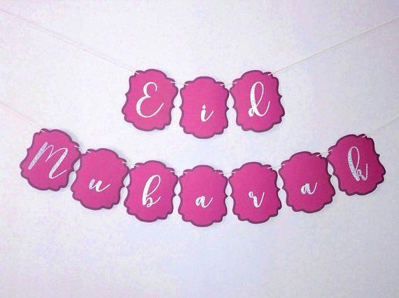 Eid Mubarak Banner Happy Eid Purple and Silver Bunting