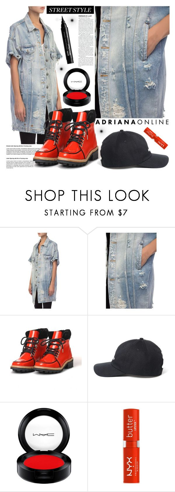 """""""ADRIANA ONLINE: Street Style With Trucker"""" by adrianaonline ❤ liked on Polyvore featuring MAC Cosmetics and NYX"""