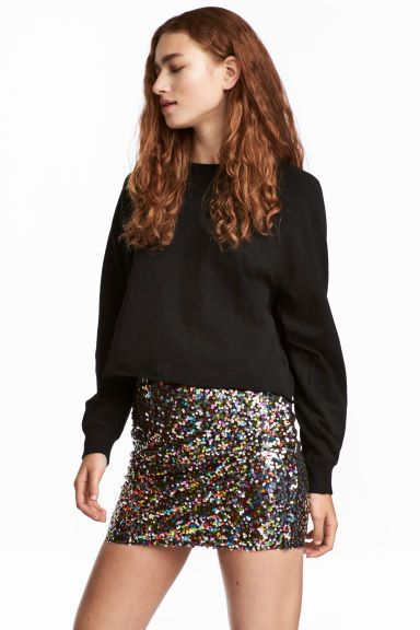 Glittery skirt - Black/Multicoloured - Ladies | H&M GB 1