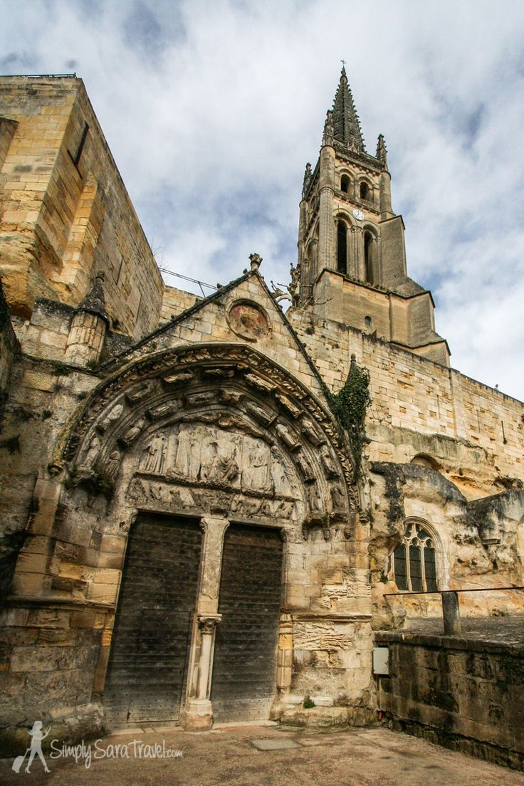 The entrance to the Monolithic Church, St. Emilion, France