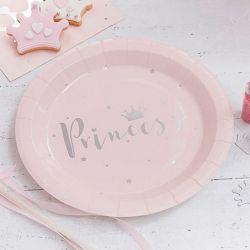 Vaisselle jetable rose pastel et argent Princesse Sweet table