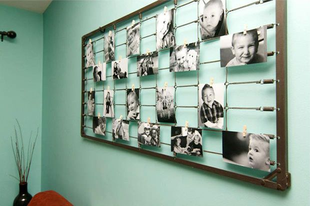 Create DIY photography art using vintage baby crib springs. So chic and so adorable!: Photography Wall, Photo Display, Photo Wall, Families Photo, Diy Wall Art, Beds Spring, Display Photo, Cribs Spring, Baby Cribs