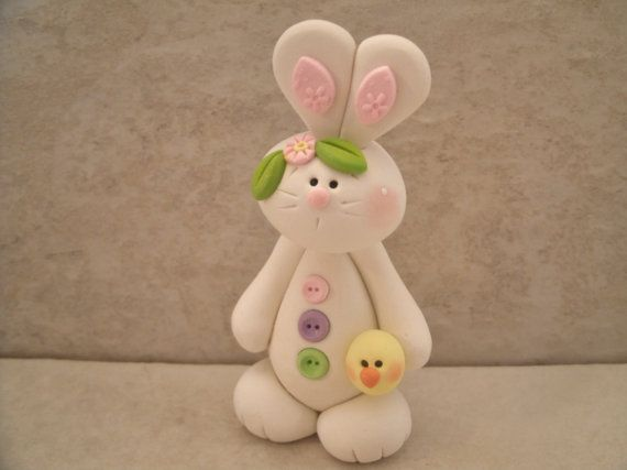 Buttoned Up Bunny and Chick  Figurine by countrycupboardclay, $9.95