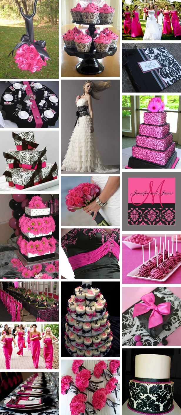 Hot Pink And Black Wedding Ideas Bing Imagesetters Bridesmaid D