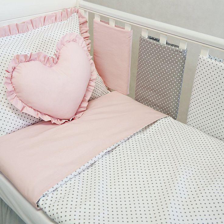 New Luxury Exclusive Powder Pink Weiss Grau Polka Dot Baby