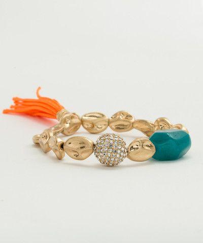 Worn Gold Pebble Bracelet with Tassel. $ 45.00