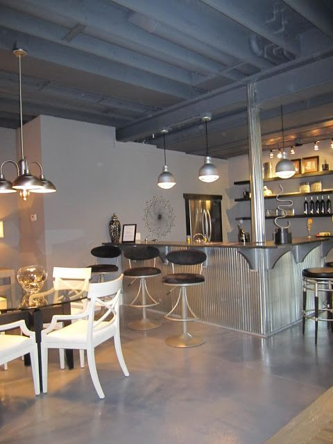 unfinished basement | wet bar | lighting | silver | industrial | Thrift and Shout: Inside The Parade of Homes 2011