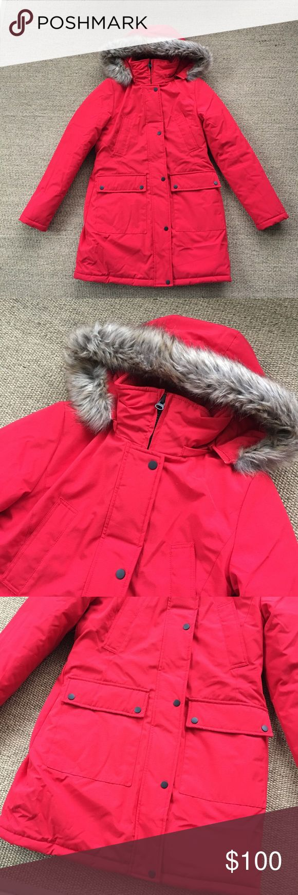 Everlast Sport Red Parka Faux Fur Hooded Coat S Only worn once. Removable Faux fur hood. 🐾 Pet-friendly, smoke-free home.. 🚫 No trades. No holds. 📦 Fast shipping! 🙋🏻 Considering all reasonable offers! Everlast Sport Jackets & Coats Puffers