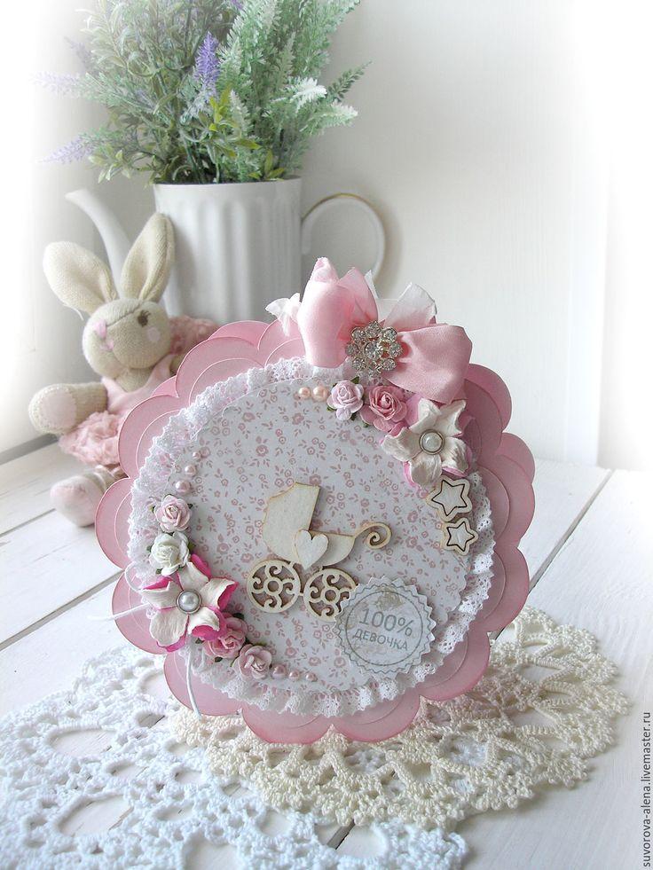 Купить Открытка для девочки - розовый, девочка родилась, рождение девочки, крещение девочки, на рождение девочки