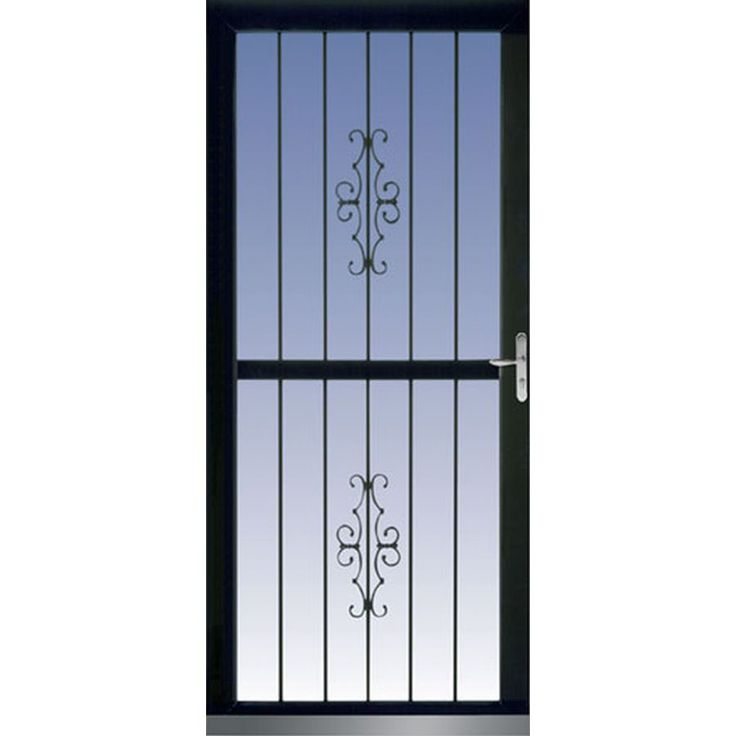 LARSON Classic View Black Full View Tempered Glass Aluminum Security Storm  Door (Common: Part 95