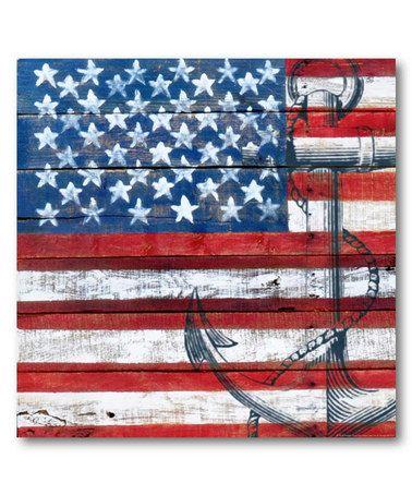 Look at this #zulilyfind! American Flag Anchor Wrapped Canvas #zulilyfinds