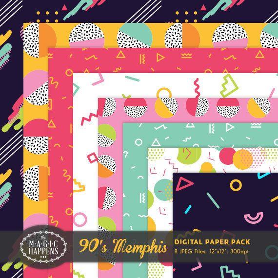 Memphis Digital Paper Colorful Retro Pattern 80s 90s Memphis