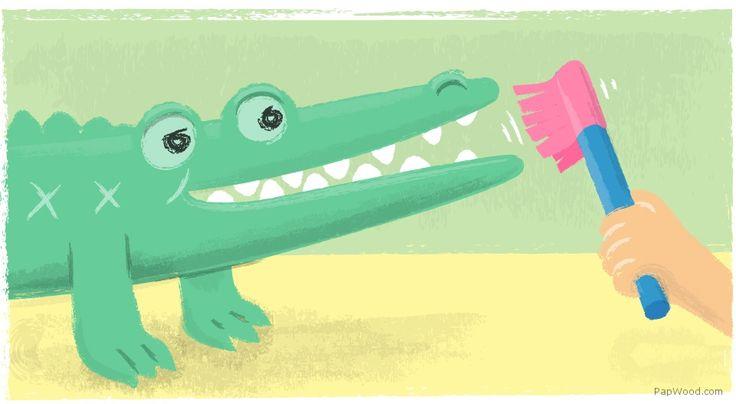 How to teach a small crocodile teeth cleaning?
